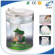 round acrylic aquarium cylinder tank circular fish tank with LED/Water pump