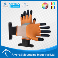 RAMSAFETY 13G nylon Work gloves extra strong finger latex coated nitrile gloves