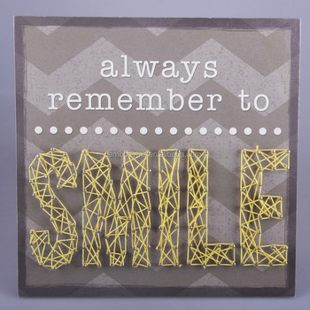 hand made wooden string wall art with the smile letters design for home decoration