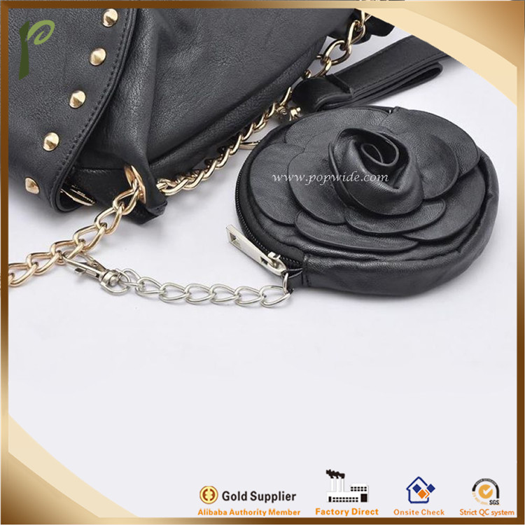 Popwide newest PU Leather Flower Coin Purse, leather flower purse