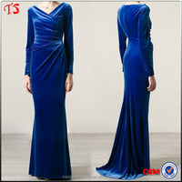 Manufacturer best selling wholesale long sleeve velvet evening long dresses
