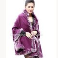 CX-B-P-25C Fox Fur Trimmed Cashmere Shawl