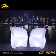 illuminated plastic led chair, palstic chair with tablet arm/led glowing chair for coffee,events