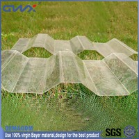 UV protected polycarbonate plastic colored corrugated roofing sheets