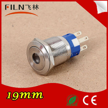 High quality stainless steel Diameter 19mm LED spdt push button momentary switch