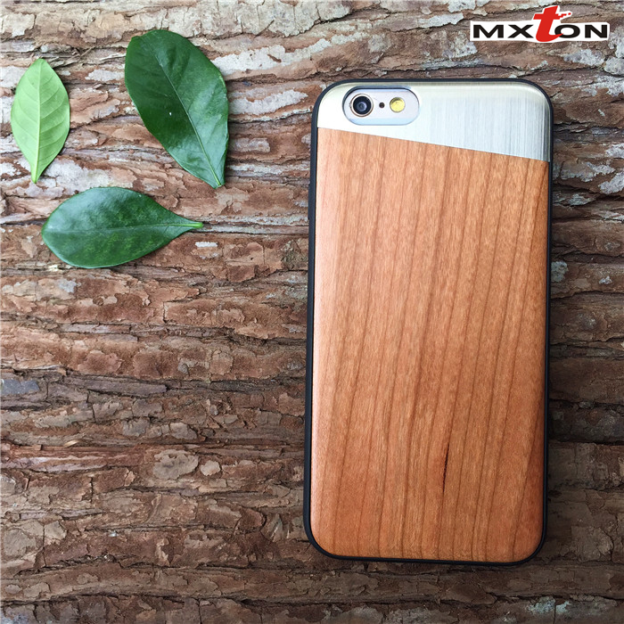 Most Fashion Mobile Phone Wood Metal Case High Quality Brand Name Phone Case for iPhone 6s Plus Phone Case