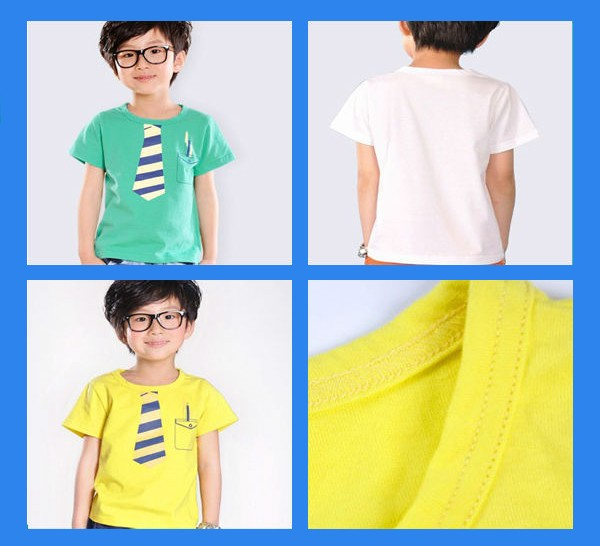OEM Stylish Child Clothing Boys' White T Shirts with 100% Organic Cotton for Kids Wear