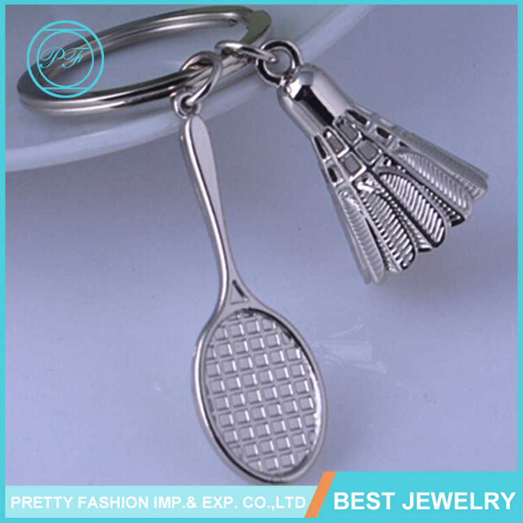 Sports Series Keychain Promotional Gifts And Souvenirs 3D Badminton Custom Metal Keychain
