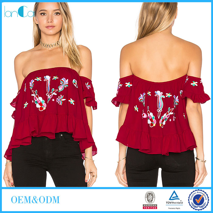 Unique Hot Sale Women Red Embroidery off Shoulder Ruffle Tops LC8061-N