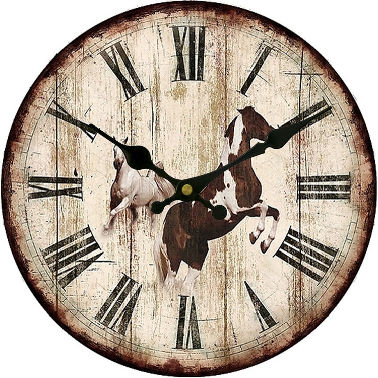 China cheap unique mdf kitchen wooden wall clocks with horse painting