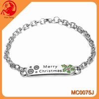 Christmas engraved chic style initial letter bracelet for lover