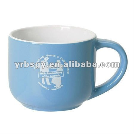 14oz Two Tone White/Light Blue Ceramic Mini Latte Mug with Custom Logo
