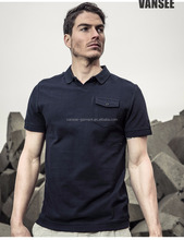 Plain dye pocket polo mini collar mans short sleeve polo t shirt