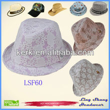 Newet Purple Flower Women Fabric Fedora Hat cap design hat fashion cowboy hat,LSF60