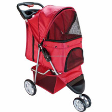 New Design Hot Sale Luxury Dogs&Cats In Fashion and Popular From Zhejiang China, Pet Travelling Stroller Jogger Red 3-Wheel