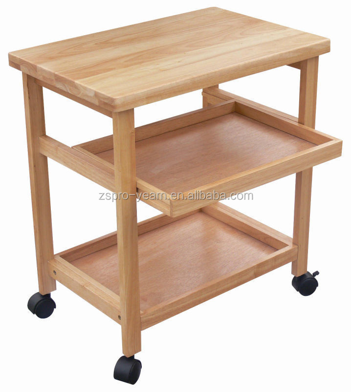 Modern design wooden kitchen trolley with 3 tiers and for Kitchen trolley designs