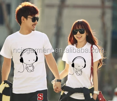 2015 New Headphone Design T shirt couple's Short Sleeve Tops T-shirt Tees 100%Cotton lover t shirt xxx xxx