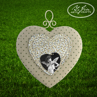 Heart Shape Decorative Wall Mounted Pin Board Metal With Fabric Pin Cushion