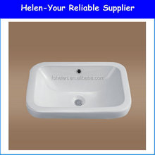 2016 New Design Squar Ceramic Wash Hand Single Sink White Wash Bowl Bathroom Above Counter Mouning Art Basin No.9378