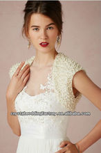 2014 new arrilval luxurious custom-made bridal boleros satin pearls short sleeve wedding jackets CWFaJ5560