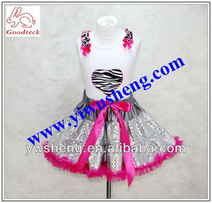 girl's sequin pettiskirts with zebra tank top sets two pieces outfits