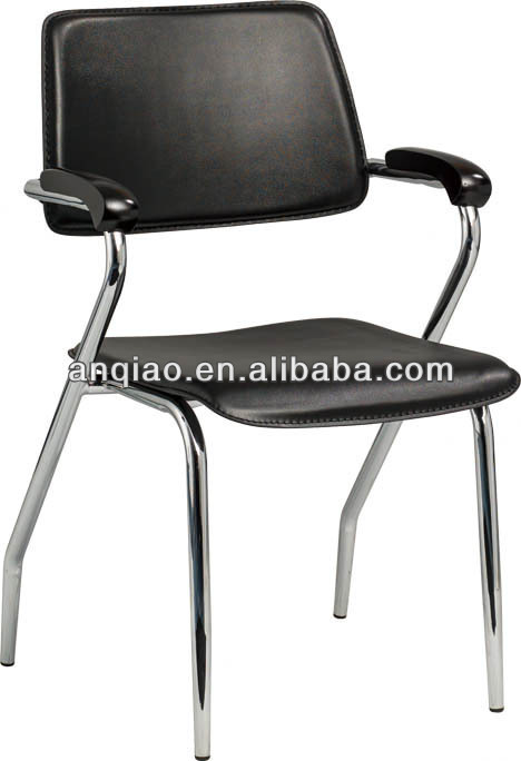 Stack bentwood PVC upholstery chrome Chair with solid wood arm training office Chair A32-H08
