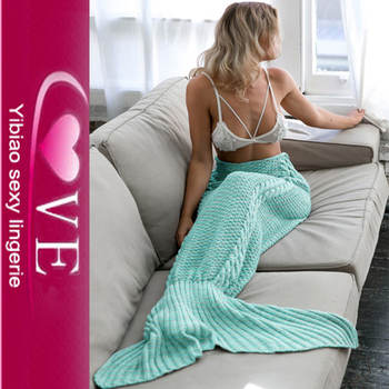 New Arrival Knited Crochet Mermaid Tail Blanket For Children And Mummy