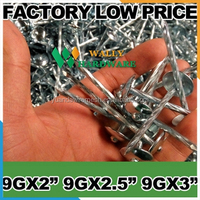 "China cheap factory low price high quality America BWG9 X 2.5"" 1kgs bag / 25kgs bulk galvanized umbrella roofing nails"