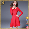 Solid Red Color Long Sleeve Round Neck Fishtail Dress With Belt