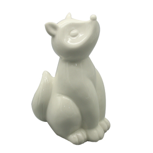 Hand-made Antique Small Ceramic animal statues white porcelain fox figurine