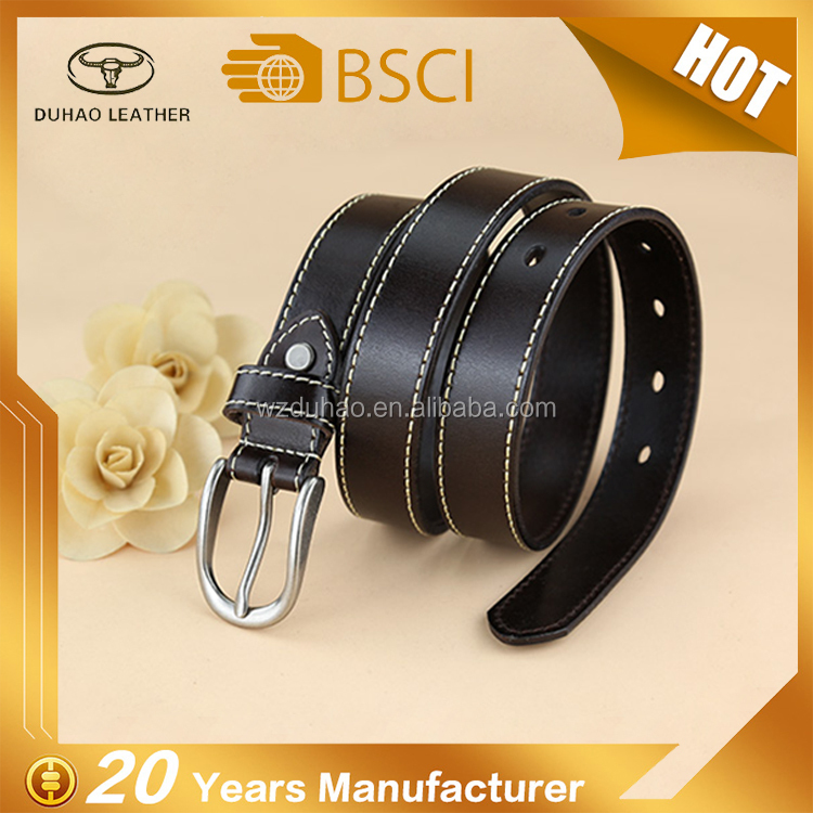 Woman black genuine leather belt custom casual stitching style real leather woman belt full grain leather lady belt