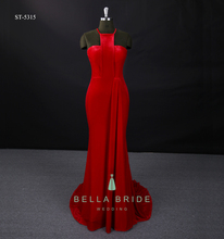 2017 latest velvet frock design red cocktail dresses party wear long women dressing gowns Alibaba evening dresses for ladies