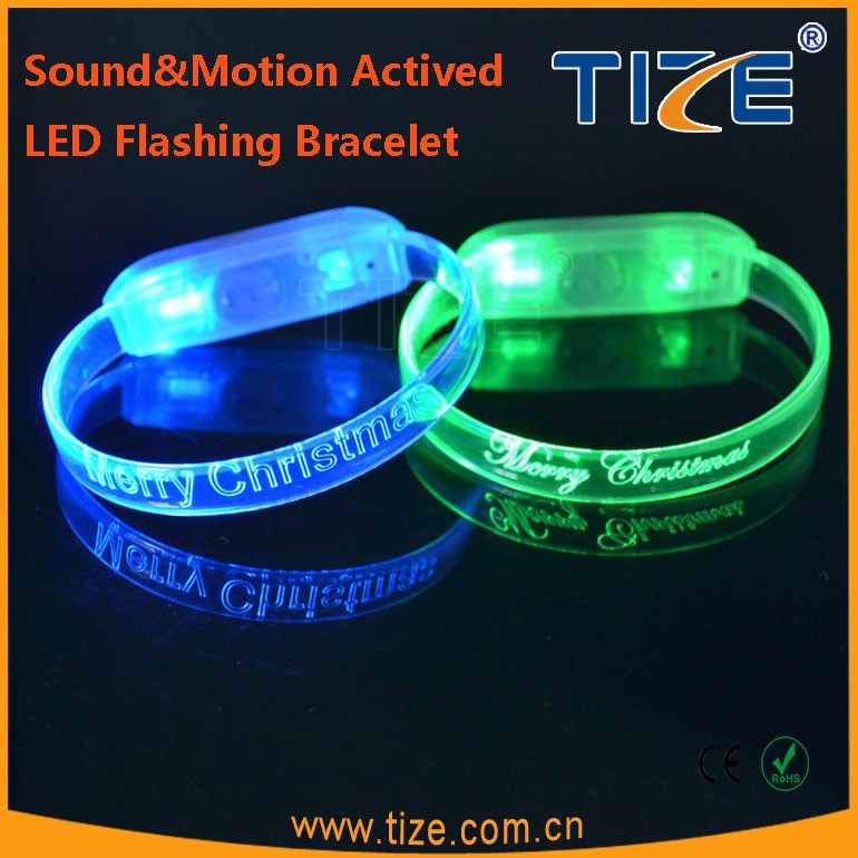Ladies Bracelet Models Motion Activited Led Flashing Wristband, Sound Sensor Led Light Up Wristband, Light Wristband
