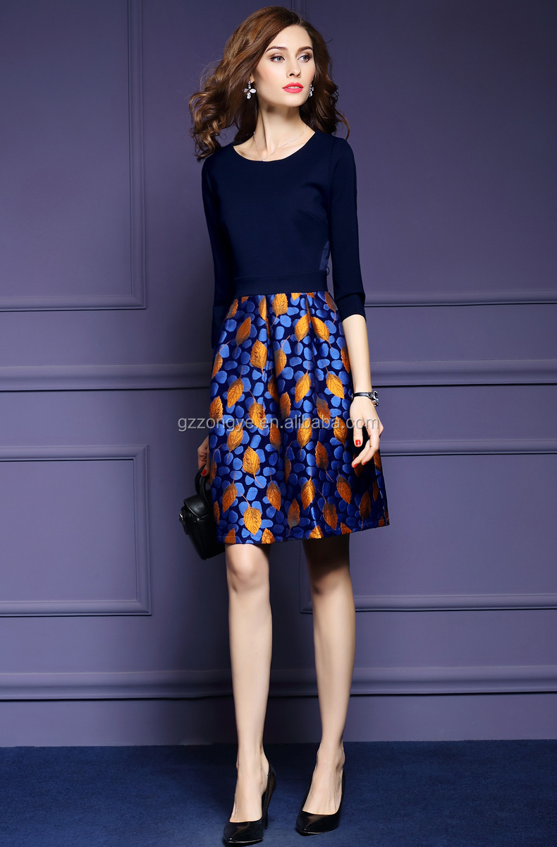 Spring and Autumn lady dress landscape pattern design knitting jacquard set knee length zipper printing dress