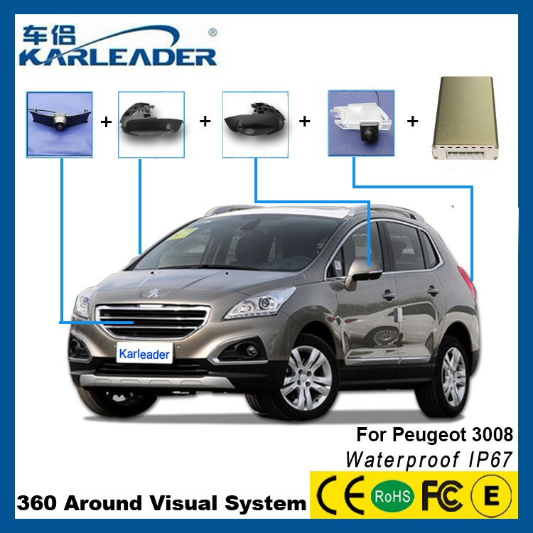 360 degree rear view car camera accessories For Peugeot 3008