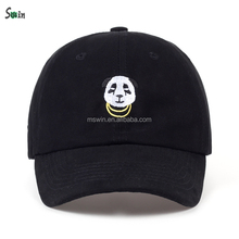 regular brim unstructured black animal embroider washed bseball cap accessory back strap