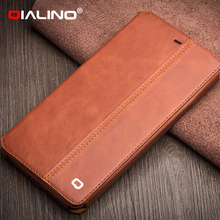 QIALINO Best Quality With Custom Printed Logo Handmade Wholesale Cell Phone Leather Case For Iphone 6 And 6