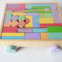 Pull Along Block Wooden Toys