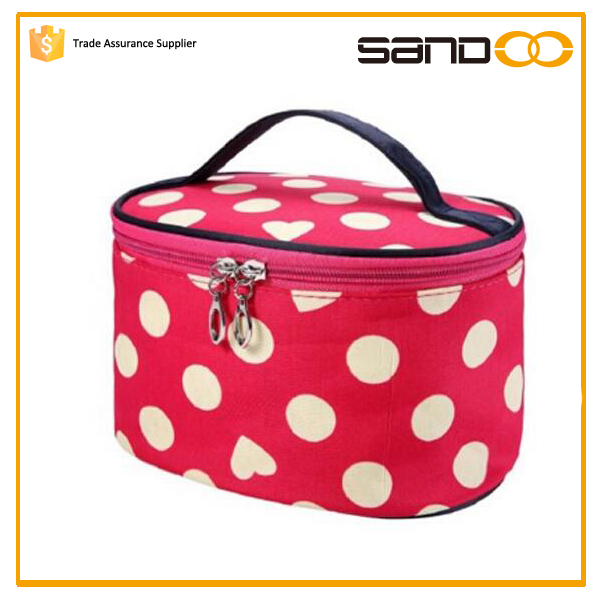 bulk fashion red round dot women make up bag,customized make-up bag