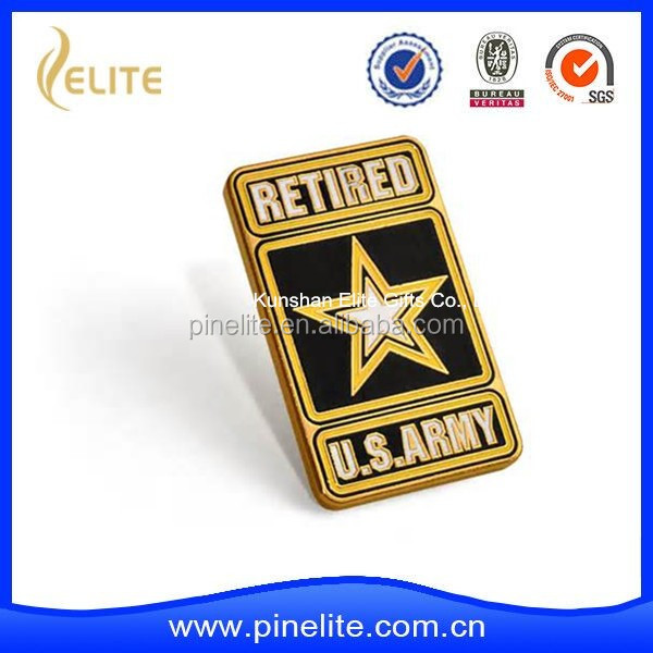 Gold Army Retired Insignia Lapel Pin