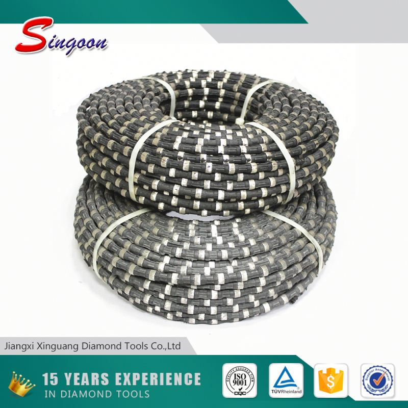 Rubber Coating without Spring Fixing sintered Diamond Wire Saw for concrete Quarrying