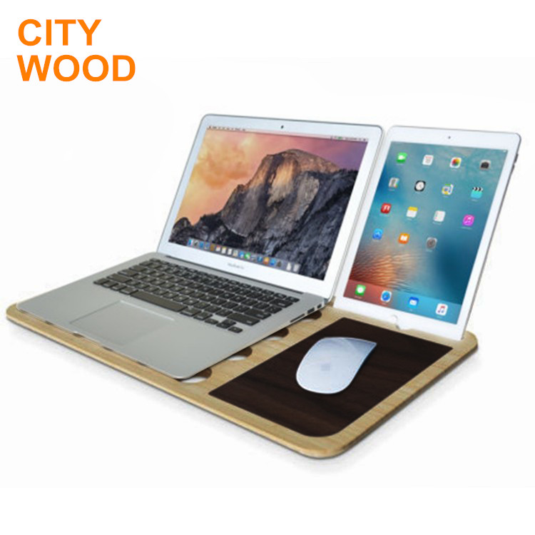 multifunctional bamboo portable laptop stand with phone and tablet holder