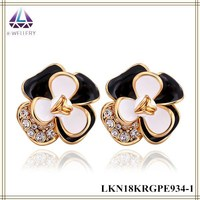 Korean Style Multicolor Petal Flower Charm Earring Gold Filled Bali Jewelry Earrings