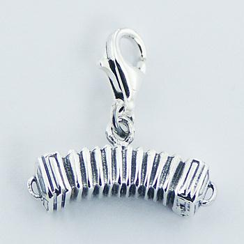 Sterling Silver Bandoneon Clip-On Charm Mini-Musical Instrument