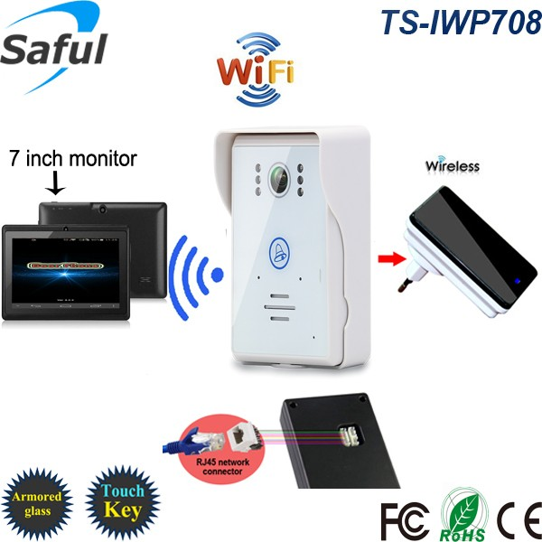 Saful TS-IWP708 WIFI video door bell with intercom& camera, control by phone (App can be run in Android and IOS devices)