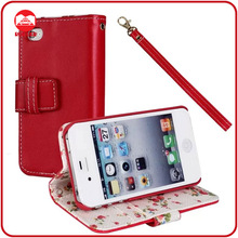 RF Manufacturer Wholesale Floral Fabric Wallet Premium Leather Flip Open Case for Iphone 4/4s