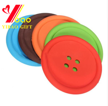 Factory Direct Sale Newest Style Lovely Colorful Button Shape Silicone Cup Mat