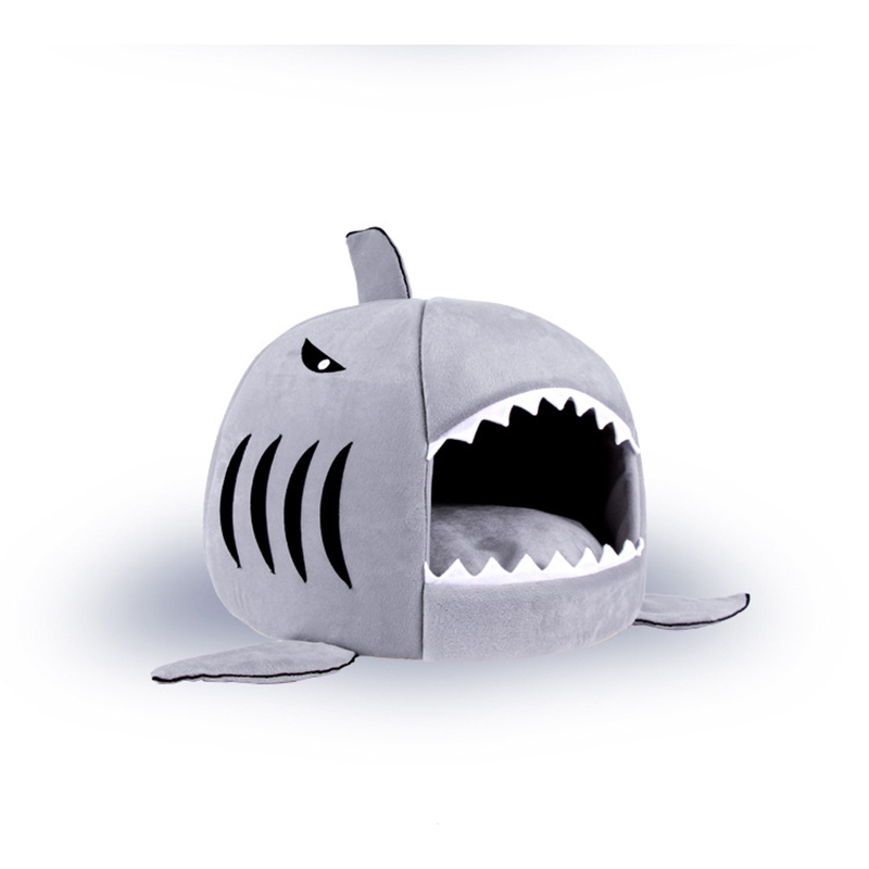 funny shark shape dog bed pet house