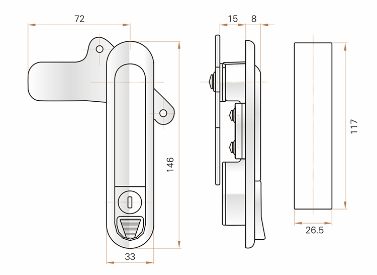 Swing Handle Network Cabinet Door Plane Lock