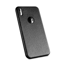 Lichi Grain Mobile Cell Phone Ultra Slim Soft TPU PU Leather Back Cover Case For iPhone X